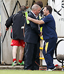 Ally McCoist with ALbion Rovers boss James Ward at the final whistle