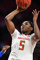 College Park, MD - March 25, 2019: Maryland Terrapins guard Kaila Charles (5) goes up for a layup during second round game of NCAAW Tournament between UCLA and Maryland at Xfinity Center in College Park, MD. UCLA advanced to the Sweet 16 defeating Maryland 85-80.(Photo by Phil Peters/Media Images International)