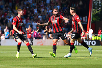 Harry Wilson of AFC Bournemouth right celebrates his goal with Steve Cook of AFC Bournemouth and Chris Mepham of AFC Bournemouth during AFC Bournemouth vs Manchester City, Premier League Football at the Vitality Stadium on 25th August 2019