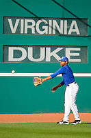Duke Blue Devils starting pitcher Marcus Stroman #7 warms up in the outfield prior to the game against the Virginia Cavaliers at Durham Bulls Athletic Park on April 20, 2012 in Durham, North Carolina.  The Blue Devils defeated the Cavaliers 6-3.  (Brian Westerholt/Four Seam Images)