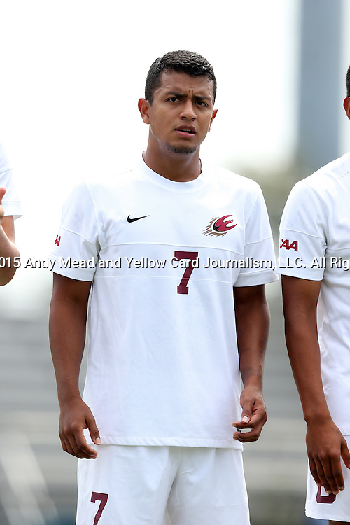 30 August 2015: Elon's Eduardo Alvarez (HON). The Elon University Phoenix played the Saint Mary's College Gaels at Koskinen Stadium in Durham, NC in a 2015 NCAA Division I Men's Soccer match. Elon won the game 1-0.