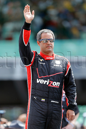 25.05.2015. Indianapolis, IN, USA.   Verizon IndyCar Series driver Juan Montoya (2) waves the to crowd during driver introductions and went on to win the 99th running of the Indianapolis 500