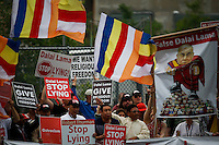 Shugden Community members and American tibetans take part in a protest regarding religious intolerance against their Buddhist community while the Dalai Lama visits New York. 07.09.2015. Eduardo MunozAlvarez/VIEWpress.