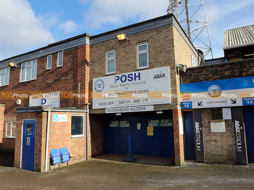 Board outside the ground promoting the match during Peterborough United vs MK Dons, Sky Bet EFL League 1 Football at London Road on 28th January 2017