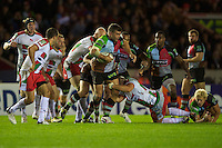 Nick Easter of Harlequins drives forward during the Heineken Cup match between Harlequins and Biarritz Olympique Pays Basque at the Twickenham Stoop on Saturday 13th October 2012 (Photo by Rob Munro)
