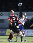 Dragons back row pair Lewis Evans and Nic Cudd compete with Connacht centre David McSharry for the high ball.<br /> RaboPro 12<br /> Newport Gwent Dragons v Connacht<br /> Rodney Parade<br /> 23.03.14<br /> <br /> &copy;Steve Pope-SPORTINGWALES