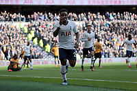 Steven Bergwijn of Tottenham Hotspur celebrates scoring the first goal during Tottenham Hotspur vs Wolverhampton Wanderers, Premier League Football at Tottenham Hotspur Stadium on 1st March 2020