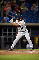 Lake County Captains catcher Juan De La Cruz (20) at bat during a game against the Quad Cities River Bandits on May 6, 2017 at Modern Woodmen Park in Davenport, Iowa.  Lake County defeated Quad Cities 13-3.  (Mike Janes/Four Seam Images)