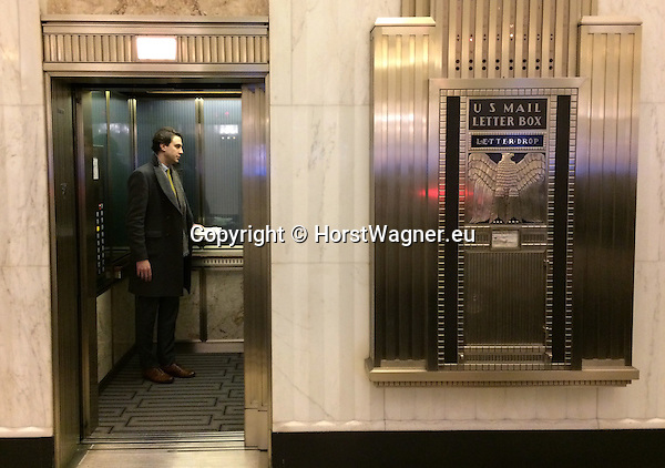 Chicago, Illinois, United States of America / USA; December 28, 2016 -- Inside The Field Building / LaSalle National Bank Building / Bank of America Building, art deco; La Salle Street; lift-elevator and US Mail letter box, art deco -- Photo: © HorstWagner.eu