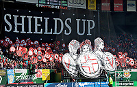 Portland, OR - Saturday April 15, 2017: Portland Thorns FC supporters, tifo during a regular season National Women's Soccer League (NWSL) match between the Portland Thorns FC and the Orlando Pride at Providence Park.