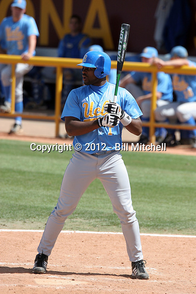 Jarrad Page plays for the UCLA Bruins against the Arizona State Sun Devils at Packard Stadium on April 24, 2005 in Tempe Arizona. After retiring from a career in the National Football League, Page signed in 2012 to play in the Los Angeles Dodgers farm system. (Bill Mitchell)