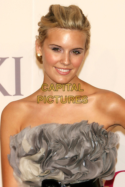 MAGGIE GRACE .2009 CFDA Fashion Awards at Lincoln Center's Alice Tully Hall, New York, NY, USA..June 15th, 2009.half length grey gray gathered strapless dress black blue.CAP/LNC/TOM.©TOM/LNC/Capital Pictures.