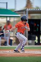 GCL Astros Jose Mendoza (13) bats during a Gulf Coast League game against the GCL Marlins on August 8, 2019 at the Roger Dean Chevrolet Stadium Complex in Jupiter, Florida.  GCL Marlins defeated GCL Astros 5-4.  (Mike Janes/Four Seam Images)