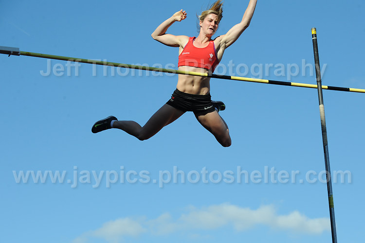 International athletics at Cardiff International stadium, Cardiff, South Wales - Tuesday 15th July 2014<br /> <br /> Welsh pole vault record holder Sally Peake clears the bar during the pole vault competition. <br /> <br /> <br /> Photo by Jeff Thomas Photography