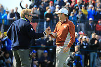Sergio Garcia (Team Europe) and Chief Press Officer Michael Gibbons during the Saturday Fourballs at the Ryder Cup, Le Golf National, Paris, France. 29/09/2018.<br /> Picture Phil Inglis / Golffile.ie<br /> <br /> All photo usage must carry mandatory copyright credit (© Golffile | Phil Inglis)