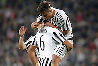 Calcio, Serie A: Juventus vs Lazio. Torino, Juventus Stadium, 20 aprile 2016.<br /> Juventus&rsquo; Paulo Dybala, right, celebrates with teammate Sami Khedira after scoring his second goal during the Italian Serie A football match between Juventus and Lazio at Turin's Juventus Stadium, 20 April 2016.<br /> UPDATE IMAGES PRESS/Isabella Bonotto