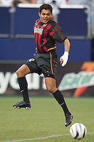 Amado Guevara of the MetroStars opened the scoring in the seventh minute with this one touch off of a pass from Clint Mathis. The San Jose Earthquakes and the the NY/NJ MetroStars played to a 4-4 tie on 7/02/03 at Giant's Stadium, NJ..