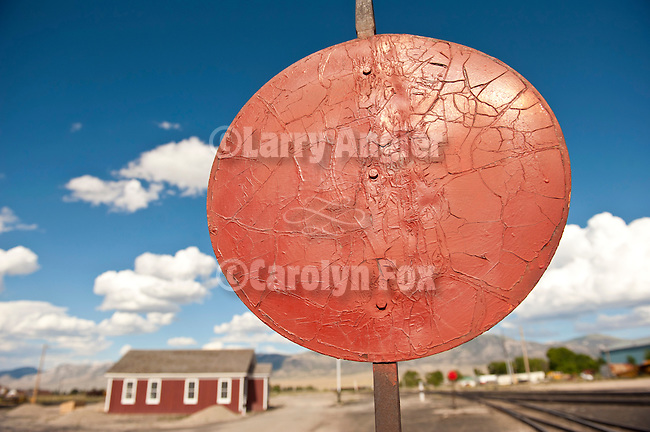 Round switch signal flag,Nevada Northern Railway, East Ely yards, Nev.