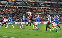 28th November 2019, Rotterdam, Netherlands; Europa League football, Feyenoord versus Glasgow Rangers;  Feyenoord player Eric Botteghin wins a header during the game - Editorial Use