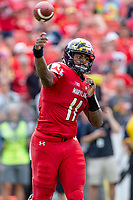 Landover, MD - September 1, 2018: Maryland Terrapins quarterback Kasim Hill (11) throws the football downfield during game between Maryland and No. 23 ranked Texas at FedEx Field in Landover, MD. The Terrapins upset the Longhorns in back to back season openers with a 34-29 win. (Photo by Phillip Peters/Media Images International)