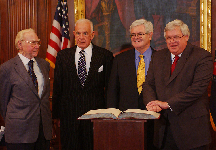 11/12/03.SPEAKERS--Former House Speakers Jim Wright, Tom Foley and Newt Gingrich during a photo opp with current House Speaker J. Dennis Hastert, R-Ill. They all had just signed the Speaker's guest book..CONGRESSIONAL QUARTERLY PHOTO BY SCOTT J. FERRELL