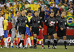 12 September 2007: Match officials (from left): Assistant Referee Robert Fereday, Fourth Official Ricardo Salazar, Referee Baldomero Toledo, Assistant Referee C.J. Morgante. The Brazil Men's National Team defeated the Mexico Men's National Team 3-1 at Gillette Stadium in Foxborough, Massachusetts in an international friendly.