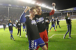 Deportivo Alaves' Marcos Llorente (l) and Adrian Ortola celebrate the victory in the Spanish Kings Cup semifinal. February 08,2017. (ALTERPHOTOS/Acero)