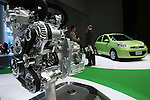 July 13, 2010 - Yokohama, Japan - New March compact vehicle's engine is on display during a press preview in Yokohama, Japan, on Tuesday, July 13, 2010. Nissan said it is aiming to sell 4,000 units a month of the new version in its domestic market with starting price of 999,600 yen (11,300 $US).