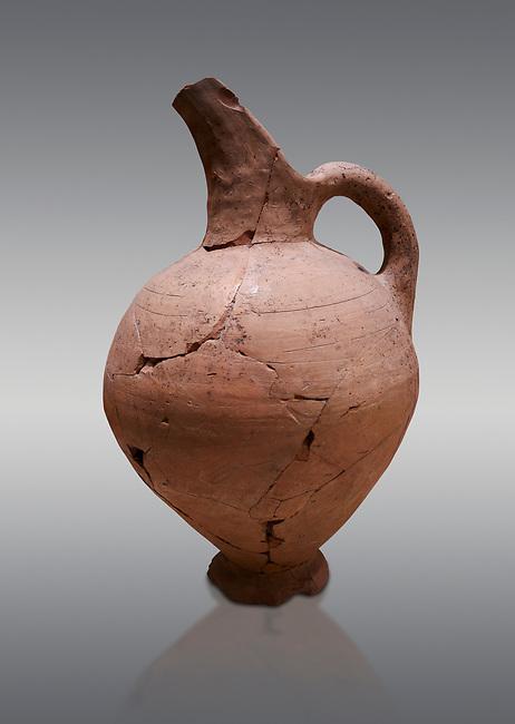 Hittite terra cotta beak spout pitcher . Hittite Period, 1600 - 1200 BC.  Hattusa Boğazkale. Çorum Archaeological Museum, Corum, Turkey