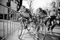 77th Flèche Wallonne 2013..exhausted Specialized-Lululemon girls Ellen van Dijk (NLD) & Lisa Brennauer (DEU) on top of the Mur de Huy