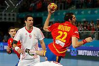 19.01.2013 World Championshio Handball. Match between Spain vs Croatia (25-27) at the stadium La Caja Magica. The picture show  Angel Montoro Cabello (Right Back of Spain)