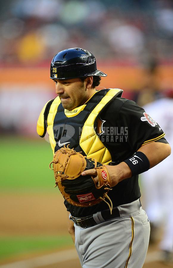 Apr. 17, 2012; Phoenix, AZ, USA; Pittsburgh Pirates catcher Rod Barajas during game against the Arizona Diamondbacks at Chase Field. Mandatory Credit: Mark J. Rebilas-