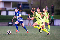 Boston, MA - Saturday April 29, 2017: Rose Lavelle during a regular season National Women's Soccer League (NWSL) match between the Boston Breakers and Seattle Reign FC at Jordan Field.