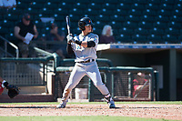 Salt River Rafters second baseman Bryson Brigman (15), of the Miami Marlins organization, at bat during an Arizona Fall League game against the Surprise Saguaros on October 9, 2018 at Surprise Stadium in Surprise, Arizona. The Rafters defeated the Saguaros 10-8. (Zachary Lucy/Four Seam Images)
