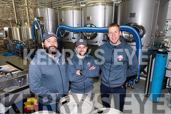 Aussie Barrett, brewer Graham Murray and Finn Mac Donnell from Dick Mack's Brewhouse, Dingle.
