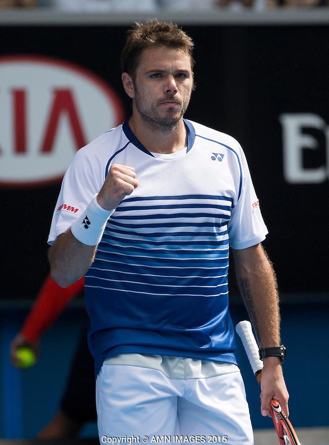 Stanislas Wawrinka (SUI)<br /> <br /> Tennis - Australian Open 2015 - Grand Slam -  Melbourne Park - Melbourne - Victoria - Australia  - 26 January 2015. <br /> &copy; AMN IMAGES