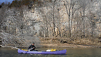 NWA Democrat-Gazette/DAVID GOTTSCHALK Dan Held floats down a section of the Meramec River Thursday, February 8, 2018, on a sunny afternoon. Eight paddlers from the Fayetteville area spent February 2-10, 2018 floating 46 miles of the spring fed river in Missouri.