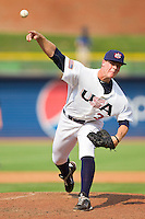 Andrew Mitchell #34 (Texas Christian) of the USA Baseball Collegiate National Team in action against the Japan Collegiate National Team at the Durham Bulls Athletic Park on July 3, 2011 in Durham, North Carolina.  USA defeated Japan 7-6.  (Brian Westerholt / Four Seam Images)