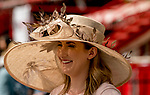 SARATOGA SPRINGS, NY - AUGUST 25: A woman wears a fancy hat on Travers Stakes Day at Saratoga Race Course on August 25, 2018 in Saratoga Springs, New York. (Photo by Scott Serio/Eclipse Sportswire/Getty Images)