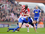 Mamady Sidebe of Stoke City tackle Gareth McAuley of Leicester City during the Championship League match at The Britannia Stadium, Stoke. Picture date 4th May 2008. Picture credit should read: Simon Bellis/Sportimage