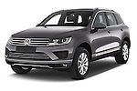 2015 Volkswagen Touareg Bluemotion 5 Door SUV Angular Front stock photos of front three quarter view