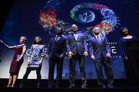 "NEW YORK CITY - MARCH 14: Astronauts Peggy Whitson, Nicole Stott, Leland Melvin, Mike Massimino, Jerry Linenger and Mae Jemison attend National Geographic's ""One Strange Rock"" screening and Q&A at Alice Tully Hall at Lincoln Center on March 14, 2018 in New York City. (Photo by Anthony Behar/NatGeo/PictureGroup)"