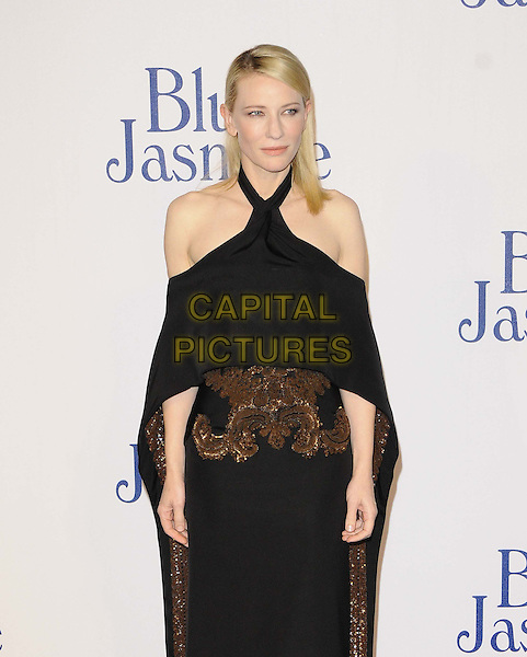 Cate Blanchett<br /> The &quot;Blue Jasmine&quot; UK film premiere, Odeon West End cinema, Leicester Square, London, England.<br /> September 17th, 2013<br /> half length black dress off the shoulder cape gold bronze embroidered <br /> CAP/CAN<br /> &copy;Can Nguyen/Capital Pictures