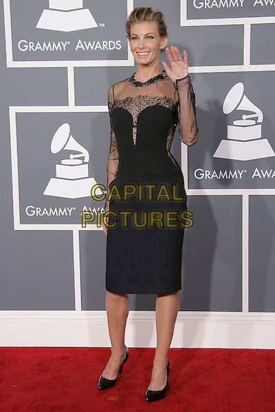 Faith Hill .The 55th Annual GRAMMY Awards held at STAPLES Center Los Angeles, California, USA..February 11th, 2013.grammys full length black dress sheer hand arm waving .CAP/ADM.©AdMedia/Capital Pictures.