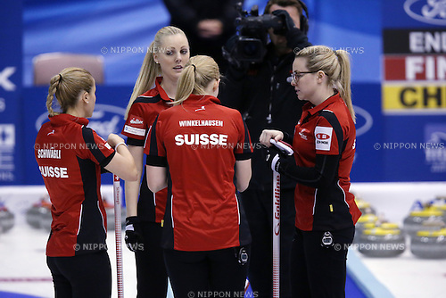 Switzerland Team Group,<br /> MARCH 19, 2015 - Curling : World Women's Curling Championship 2015 Round Robin match between Switzerland and Scotland at Tsukisamu Gymnasium in Sapporo, Hokkaido, Japan. (Photo by Jun Tsukida/AFLO SPORT)