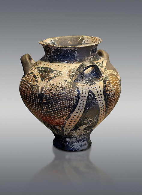 Small Mycenaean amphora decorated with large ivy leaves, Grave VI, Grave Circle A, Mycenae 16-15 Cent BC. National Archaeological Museum Athens. Cat No 192.  Grey Background