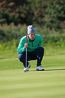 Alex Gleeson from Ireland on the 11th green after Round 1 Foursomes of the Men's Home Internationals 2018 at Conwy Golf Club, Conwy, Wales on Wednesday 12th September 2018.<br /> Picture: Thos Caffrey / Golffile<br /> <br /> All photo usage must carry mandatory copyright credit (&copy; Golffile | Thos Caffrey)
