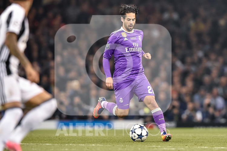 Isco of Real Madrid during the UEFA Champions League Final match between Real Madrid and Juventus at the National Stadium of Wales, Cardiff, Wales on 3 June 2017. Photo by Giuseppe Maffia.<br /> <br /> Giuseppe Maffia/UK Sports Pics Ltd/Alterphotos