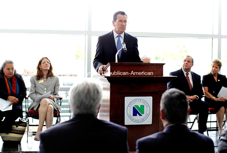 Waterbury, CT-08 June 2012-060812CM02-  Governor Dannel P. Malloy addresses an audience during an announcement of the GEAR UP (Gaining Early Awareness and Readiness for Undergraduate Programs) Grant Awards at the Technology Hall Atrium inside the Naugatuck Valley Community College Friday afternoon in Waterbury.  The city of Waterbury is receiving a $11.2 million in GEAR UP funding from the State of Connecticut.  GEAR UP  is a federally-funded discretionary grant program designed to significantly increase the number of low-income students who are prepared to enter and succeed in college.  NVCC will serve as fiduciary for Waterbury's grant  award.  Funding was also awarded to the city of New Haven to partner with Southern Connecticut State University and the city of East Hartford to  partner with Manchester Community College in these efforts.   -Info taken from Reporter Mike Puffer.     Christopher Massa Republican-American