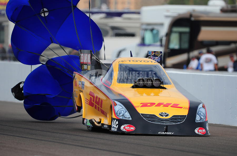 Feb. 19, 2012; Chandler, AZ, USA; NHRA funny car driver Jeff Arend during the Arizona Nationals at Firebird International Raceway. Mandatory Credit: Mark J. Rebilas-